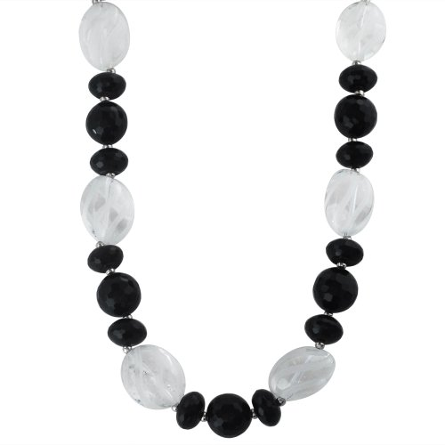 14-14.5mm Round and 14mm Rondel Faceted black Agate and Etched Spiral Crystal Bead Necklace Accented with Sterling Silver Beads and Clasp, 18