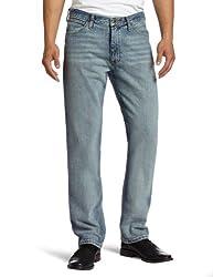 Nautica Jeans Men's Straight Light Cross Hatch Jean, Rocky Point Blue, 33Wx32L