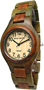 Tense Mens Sandalwood & Green All Wood Mens Round Watch G7509GS from Tense