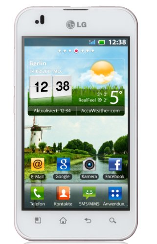 LG P970 Optimus Smartphone (10,2 cm (4 Zoll) Display, Touchscreen, Android OS, 5 Megapixel Kamera) weiß