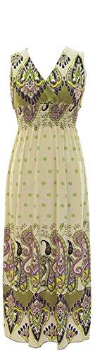 Plum Feathers Exotic Print Smocked Waist Maxi Dress Plus & Regular Sizes olive tahiti 2x