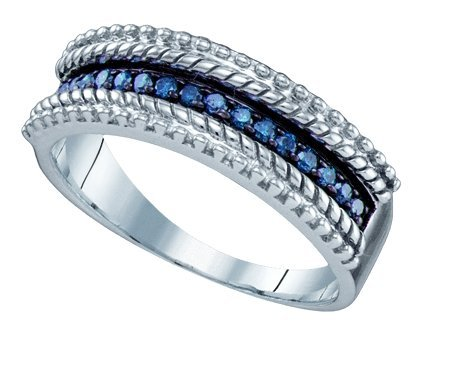 Sterling silver 0.23 Carat (ctw) Diamond Fashion Ladies Blue Diamond Ring