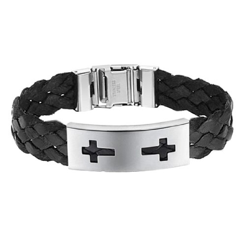 Huiyou Unisex Black Braided Bracelet For Men And Women With Two Crosses On Stainless Steel Plate