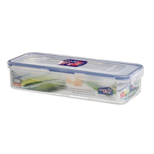 Lock & Lock Bpa Free Rectangular Food Container With Leak Proof Locking Lid And Tray, 4.1-Cup