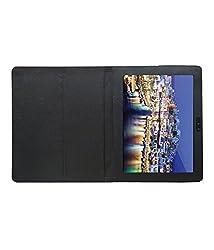 Acm Executive Leather Flip Case For Iball Slide 3g Q1035 Tablet Front & Back Flap Cover Stand Holder Black