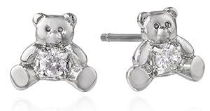 """Betsey Johnson """"CZ"""" Teddy Bear Cubic Zirconia Stud Earrings"""