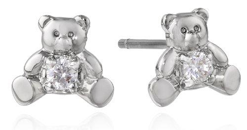 """Betsey Johnson """"Cz"""" Teddy Bear Cubic Zirconia Stud Earrings front-1043373"""