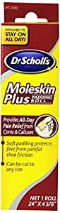 "Dr. Scholl's Moleskin Plus 24"" x  4 5/8""  Padding Roll (Pack of 4)"