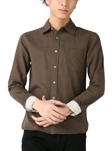 ブラウン M (ベストマート)BestMart 綿麻 シャツ メンズ 長袖 無地 スリム カジュアル 603244