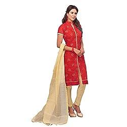 PARISHA Chanderi Silk Red Women's Chudidar Suit 2RSK3014