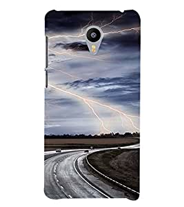 A HIGHWAY VIEW WITH THUNDERSTROMS 3D Hard Polycarbonate Designer Back Case Cover for Meizu m3 note::Meizu Blue Charm Note3