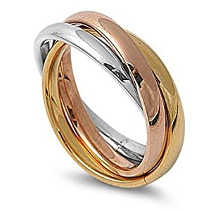 STR-0002 High Polished Stainless Steel Triple Multi Color Band Ring Size 3-12; Comes with Free Gift Box (3)