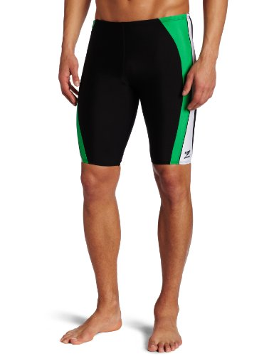 Speedo Men's Sonic Splice Jammer Swimsuit,Black/Green,36