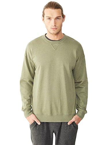 Alternative Men's Light French Terry Quilted Crew Neck Sweatshirt, Camo Green, Medium (Alternative French Terry compare prices)