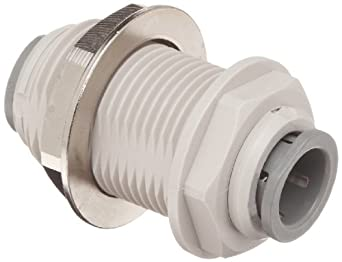 John Guest Acetal Copolymer Push-To-Connect Tube Fitting, Bulkhead Union, Tube OD (Pack of 10)
