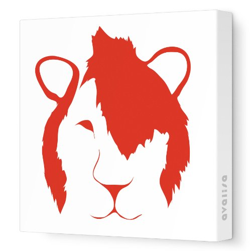 """Avalisa Stretched Canvas Nursery Wall Art, Punk Lion Face, Red, 28"""" X 28"""" front-960393"""