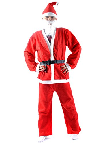 Mens Red White Santa Claus Suit Christmas Outfit Costume with Hat