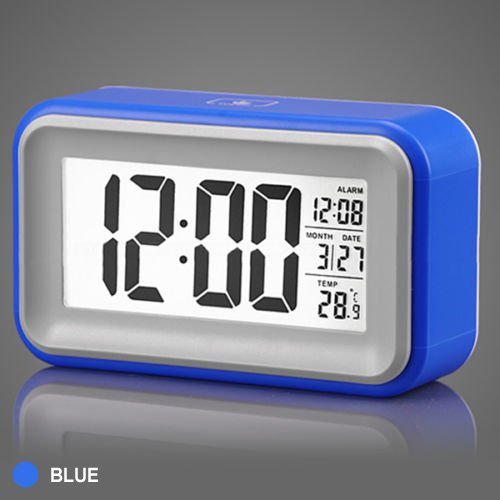 Jcc Touch Smart Light-Activated Sensor Bedside Digital Snooze Alarm Clock With Date And Temperature (Only °C) Display Batteries / Usb / Dc Powered (Blue) front-645742