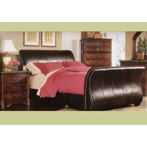 Queen Leather Sleigh Bed Master Bedroom Furniture Set