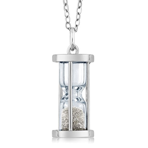 925 Sterling Silver Hourglass Pendant Necklace With Genuine Diamond Dust - April Birthstone