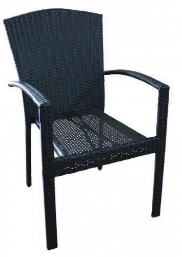 Stapelstuhl MAILAND Gartenmöbel Gartenstuhl Garten Stuhl geflecht schwarz