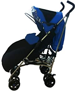 Buggies Single buggy pushchair Pram stroller from Newborn Baby Child Toddler with rain cover and reversible foot muff (pattern or plain) suitable from birth up to weight 22.5kg most pushchairs only 15kg RRP £79.99 Fizzy Blue /Black by Kidz Kargo