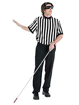 Amazon Com Mens Blind Referee Costume With Shirt Cane