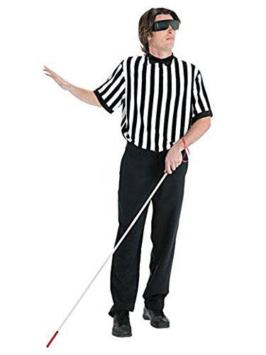 Mens Blind Referee Costume with Shirt, Cane for the Blind & Blacked Out Glasses