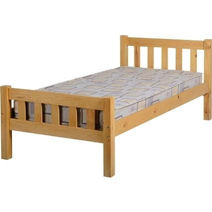 Seconique Carlow marco de cama individual de madera de pino