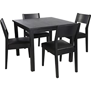 essentialz hygena black square dining table and 4 chairs
