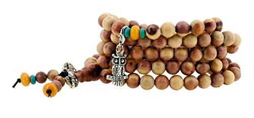 Tibetan 108 Zen Buddhist Wooden Mala Prayer Beads Necklace Wrap Bracelet with Charms (Owl)