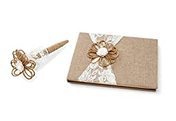 David Tutera Jute & Lace Wedding Party Guest Book and Pen Set
