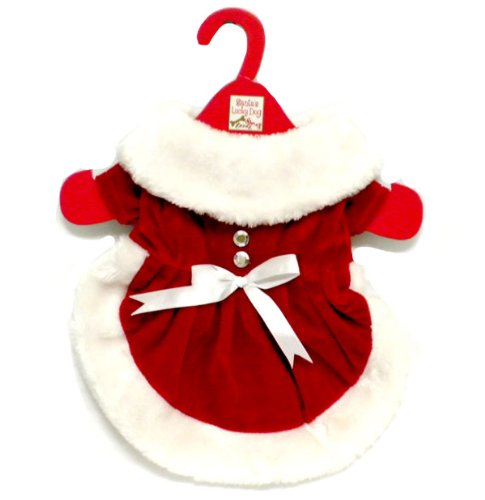 Mrs. Santa Claus Red Velveteen Dress Christmas Outfit For Dog Or Puppy (Medium) front-41841