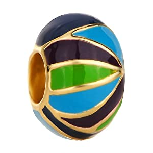 Pugster Blue Green Black Stripes European Beads Gold Fits Pandora Charm Bracelet