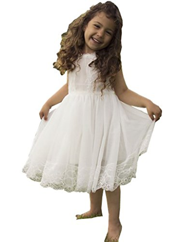 Bow Dream Flower Girl's Dress Lace Off White 8