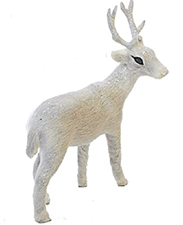Frosted Kingdom Plush White Glittered 6-inch Deer Facing Right Christmas Table Top Figurine by KSA