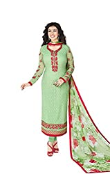 Orange Fab Green Embroidery Dress Material