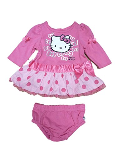 Hello Kitty Infant Girls Pink Polka Dot Ruffled Lace Dress 2 Piece Outfit