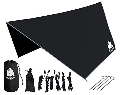 Chill-Gorilla-Pro-Waterproof-Tent-Tarp-Rain-Fly-and-Hammock-Shelter-Essential-Camping-and-Survival-Gear-RIPSTOP-Nylon-Black