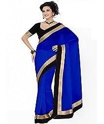 SRP Fashion Selection Women's Chiffon Saree (SRP-OF53, Blue)