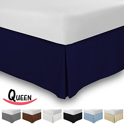 Review Combed Cotton Sateen Queen Bed-Skirt Navy- 100% Finest Quality Long Staple Fiber – Durable, Comfortable & Abrasion Resistant, Quadruple Pleated, Cotton Blended Platform – By Utopia Bedding