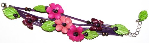 Flowers Bracelet Multi Leather Band - Pink And Purple - All Hand Worked Leather