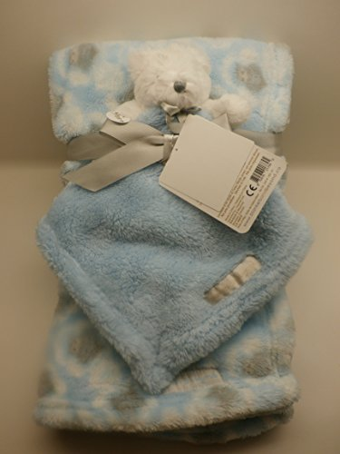 Blanket & Pacifier Holder Gift Ensemble Blue with Owls and Teddy Bear