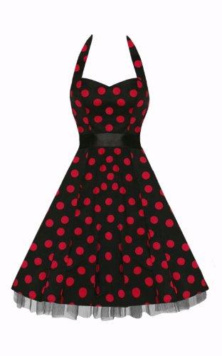 Black Butterfly Polka Dot Retro Rockabilly Prom Dress
