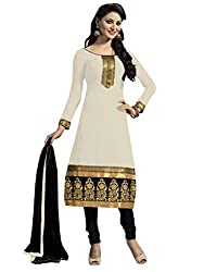 Nilkanth Enterprise Cream Dress Material