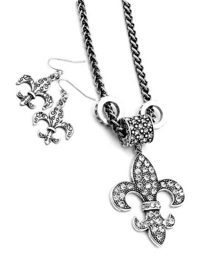 Silver Tone Fleur De Lis Crystal Earring and Necklace Set
