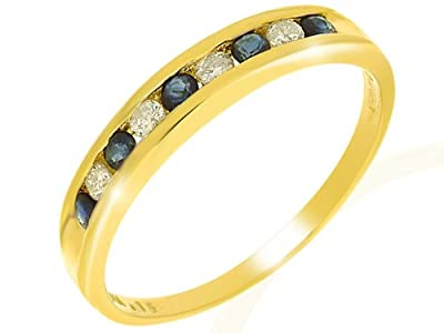 9ct Yellow Gold Blue Sapphire And Diamond Ladies Ring