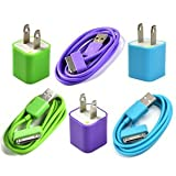 Case Star 3pcs Green, Purple, Aqua Blue USB Wall Charger plus 3pcs 3Feet USB Charge and Sync Data Cable