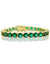 Bling Jewelry Gold Plated CZ Green Simulated Emerald Tennis Bracelet 8 Inch