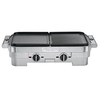The Griddler combo cooking surface uses two removable and reversible nonstick grill and griddle plates to provide multiple cooking options.  Use half grill/half griddler, full griddle or full grill to prepare any meal. It's easy to make a steak and e...